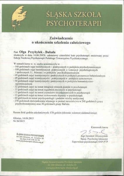 Dyplom Wyższej Szkoły Psychoterapii