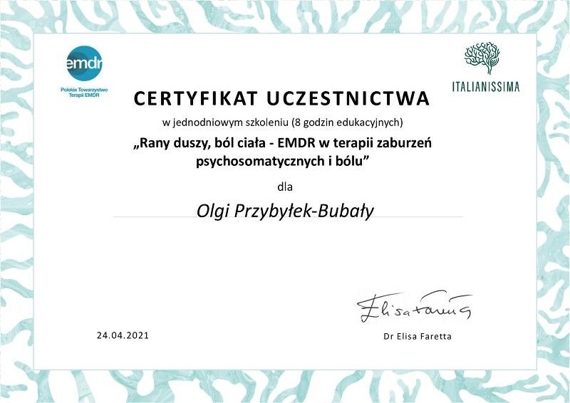Olga Przybylek Bubala Certyfikat leczenie